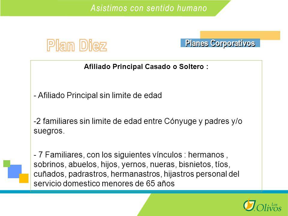 K Planes Corporativos Afiliado Principal Casado o Soltero : - Afiliado Principal sin limite de edad -2 familiares sin limite de edad entre Cónyuge y padres y/o suegros.