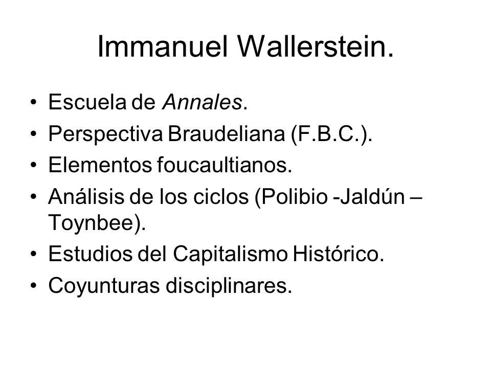 Immanuel Wallerstein. Escuela de Annales. Perspectiva Braudeliana (F.B.C.).