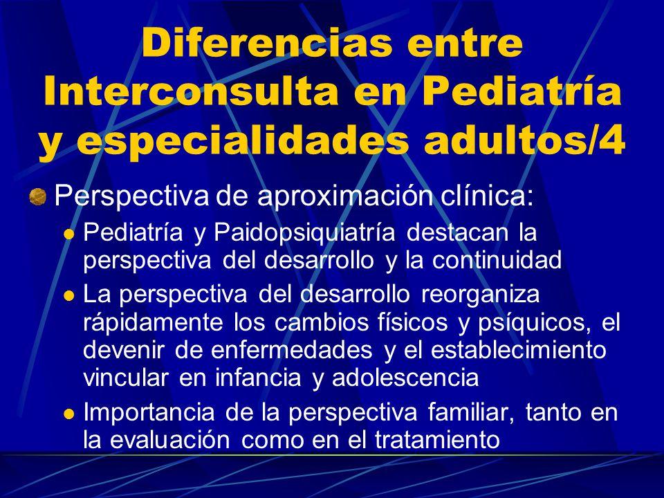 Diferencias entre Interconsulta en Pediatría y especialidades adultos/3 Naturaleza diferente de problemas clínicos: Progreso de especialidades en Pediatría plantea problemas diferenciales con otras especialidades (p.e.