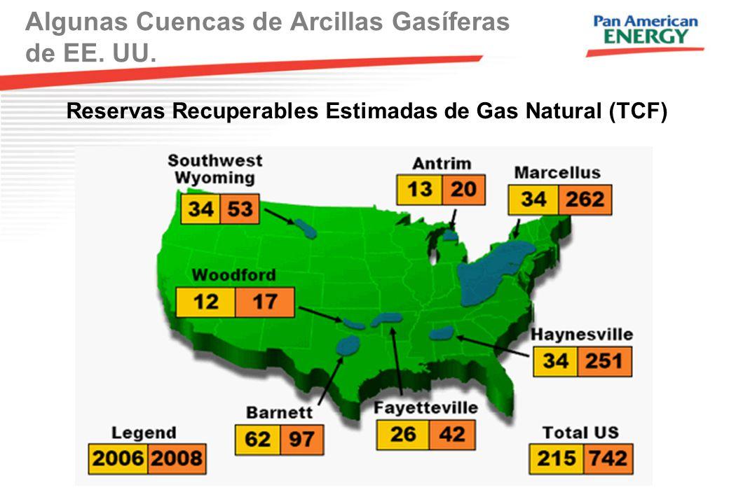 Algunas Cuencas de Arcillas Gasíferas de EE. UU.