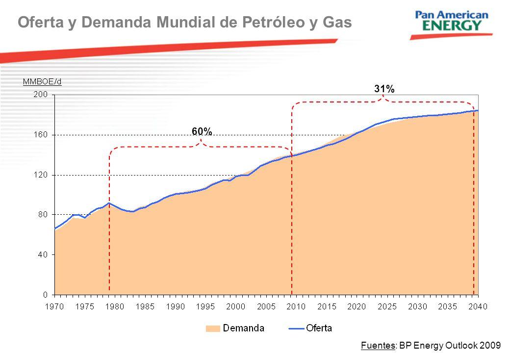 Oferta y Demanda Mundial de Petróleo y Gas Fuentes: BP Energy Outlook 2009 60% 31%