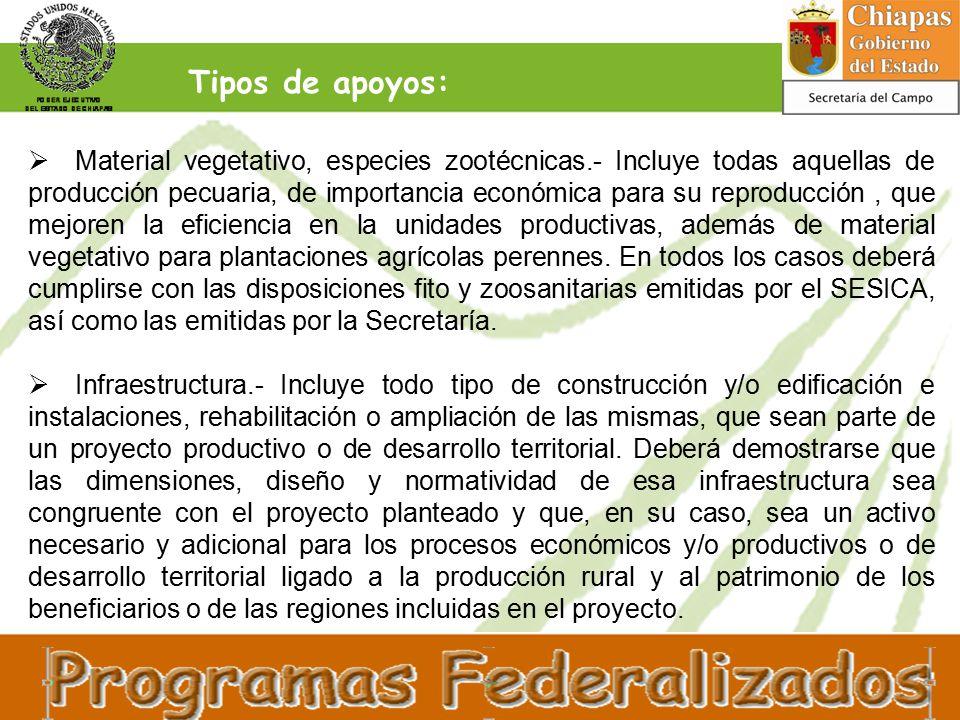  Material vegetativo, especies zootécnicas.- Incluye todas aquellas de producción pecuaria, de importancia económica para su reproducción, que mejoren la eficiencia en la unidades productivas, además de material vegetativo para plantaciones agrícolas perennes.