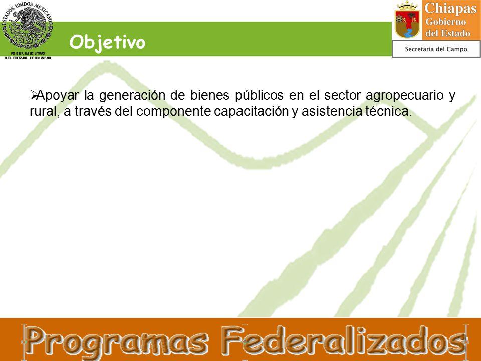 Objetivo  Apoyar la generación de bienes públicos en el sector agropecuario y rural, a través del componente capacitación y asistencia técnica.