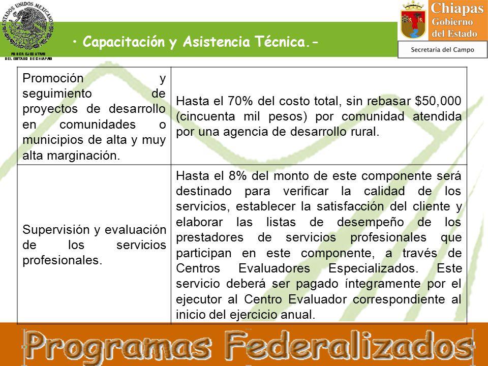 Capacitación y Asistencia Técnica.- Promoción y seguimiento de proyectos de desarrollo en comunidades o municipios de alta y muy alta marginación.