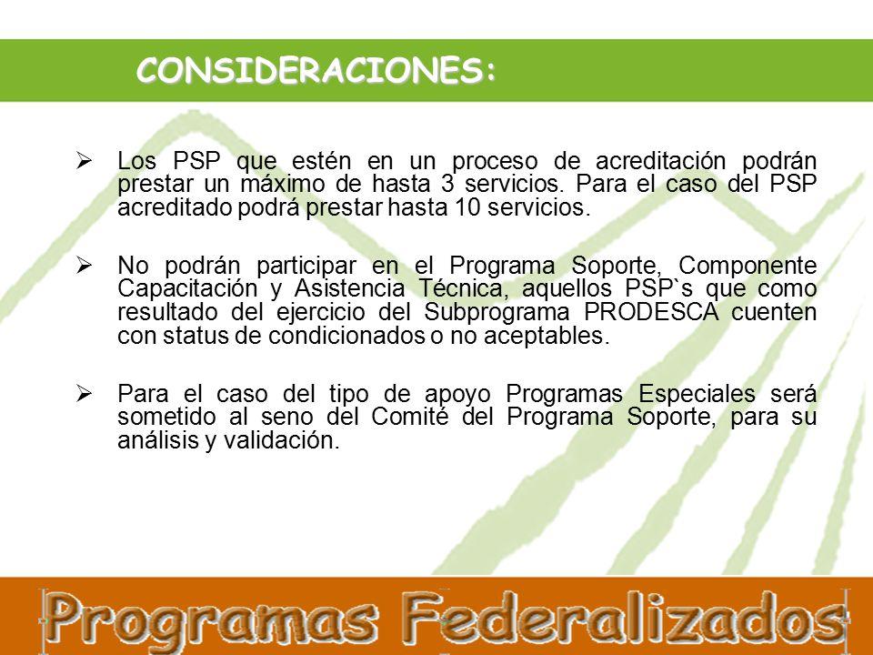 CONSIDERACIONES:  Los PSP que estén en un proceso de acreditación podrán prestar un máximo de hasta 3 servicios.