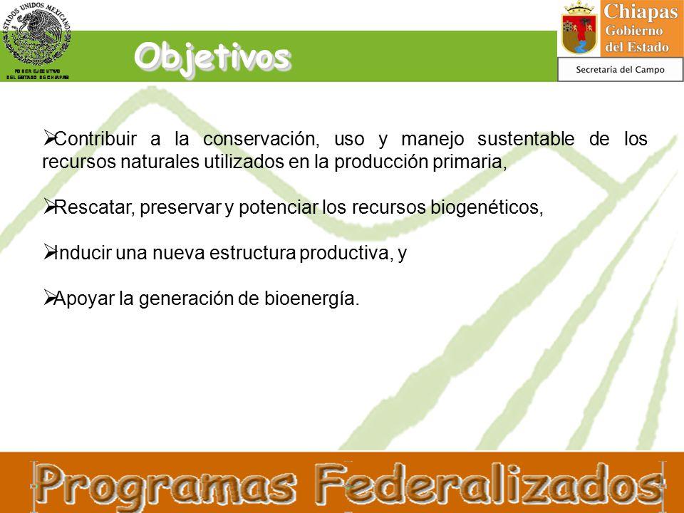 ObjetivosObjetivos  Contribuir a la conservación, uso y manejo sustentable de los recursos naturales utilizados en la producción primaria,  Rescatar, preservar y potenciar los recursos biogenéticos,  Inducir una nueva estructura productiva, y  Apoyar la generación de bioenergía.