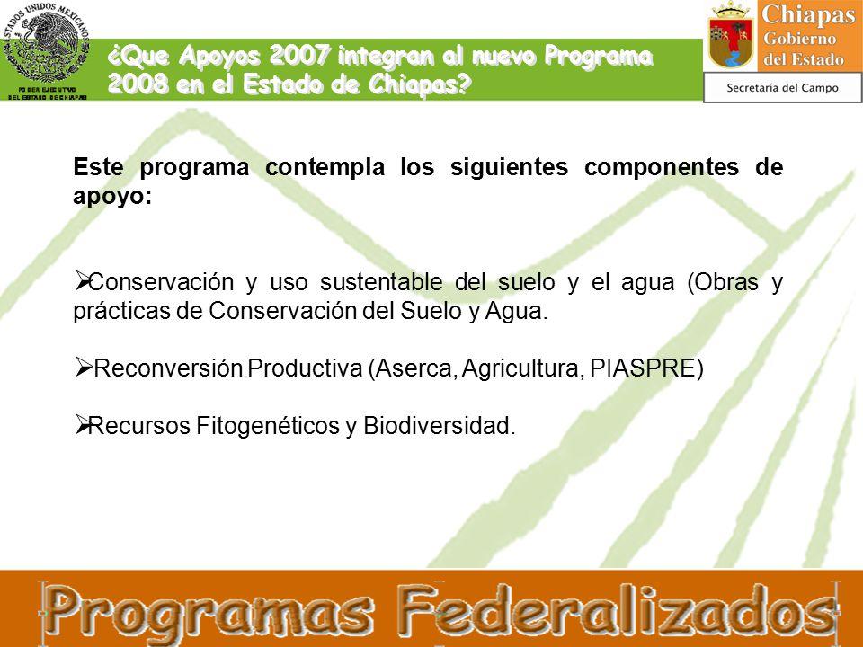 ¿Que Apoyos 2007 integran al nuevo Programa 2008 en el Estado de Chiapas.