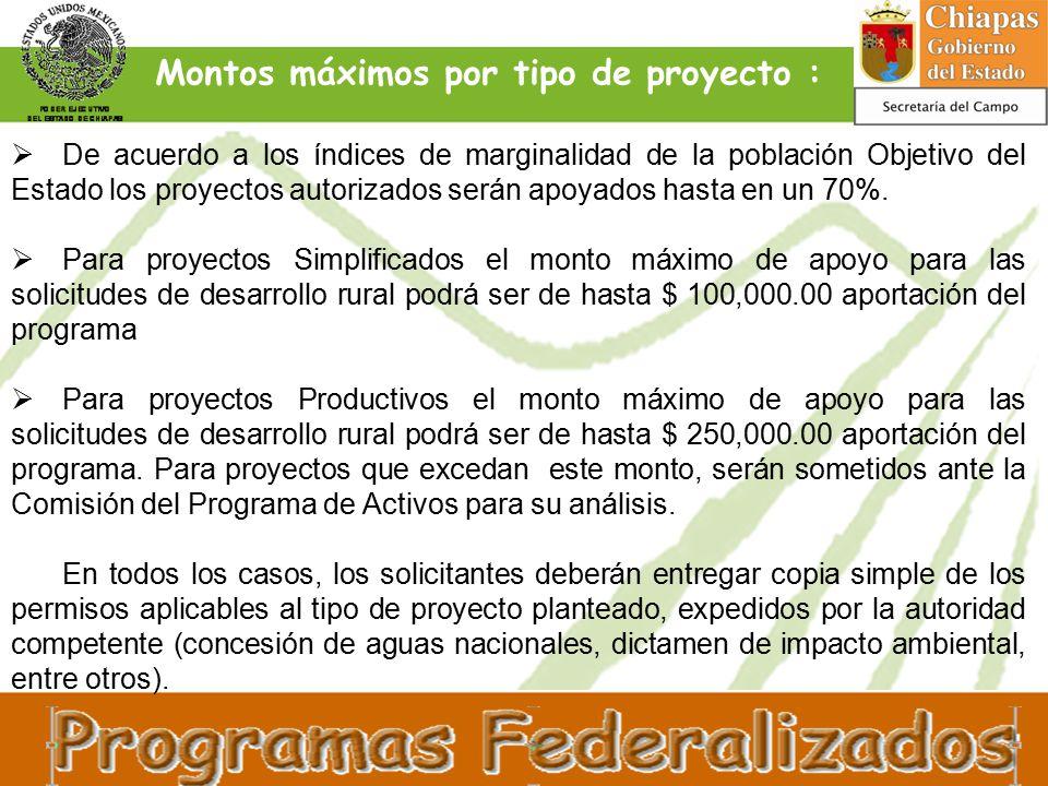  De acuerdo a los índices de marginalidad de la población Objetivo del Estado los proyectos autorizados serán apoyados hasta en un 70%.
