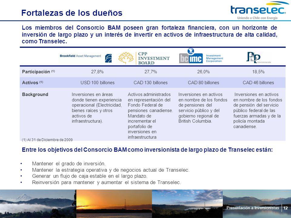 Presentación a Inversionistas 12 Fortalezas de los dueños Los miembros del Consorcio BAM poseen gran fortaleza financiera, con un horizonte de inversión de largo plazo y un interés de invertir en activos de infraestructura de alta calidad, como Transelec.