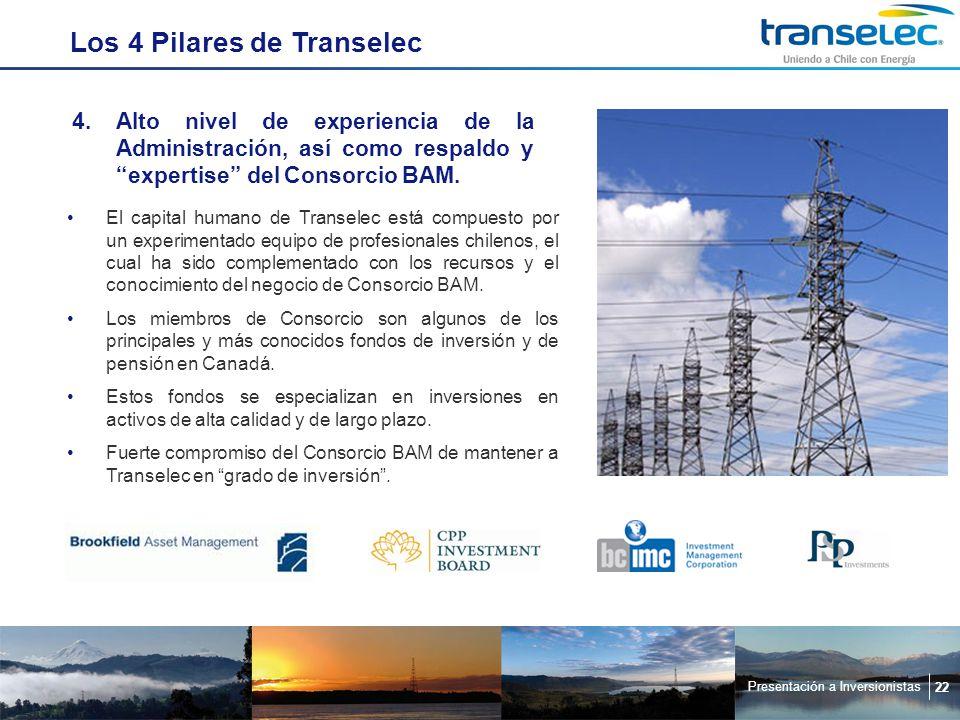 Presentación a Inversionistas 22 Los 4 Pilares de Transelec 4.Alto nivel de experiencia de la Administración, así como respaldo y expertise del Consorcio BAM.