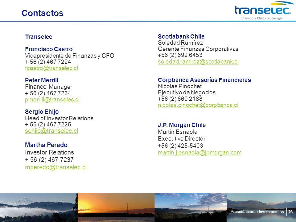 Presentación a Inversionistas 26 Contactos Scotiabank Chile Soledad Ramírez Gerente Finanzas Corporativas +56 (2) 692 6453 soledad.ramirez@scotiabank.cl Corpbanca Asesorías Financieras Nicolas Pinochet Ejecutivo de Negocios +56 (2) 660 2188 nicolas.pinochet@corpbanca.cl J.P.