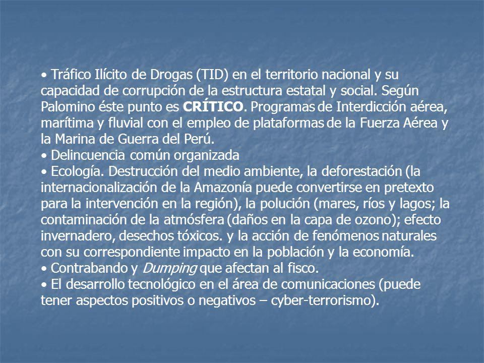 Tráfico Ilícito de Drogas (TID) en el territorio nacional y su capacidad de corrupción de la estructura estatal y social.