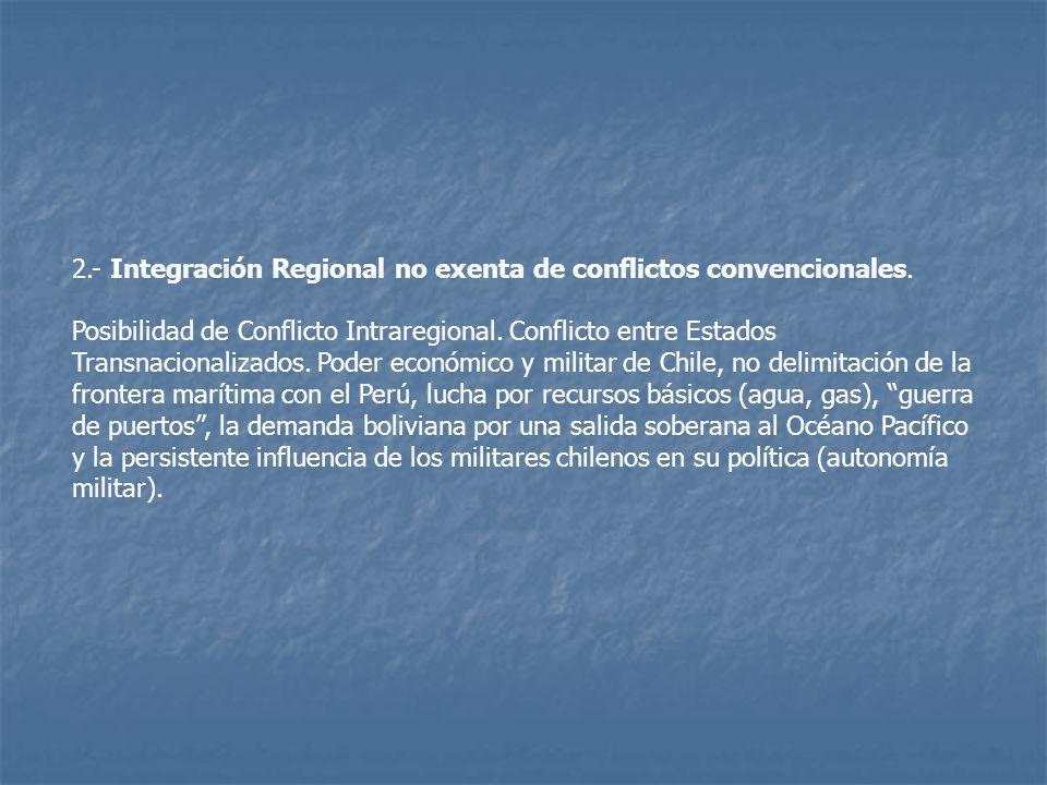 2.- Integración Regional no exenta de conflictos convencionales.