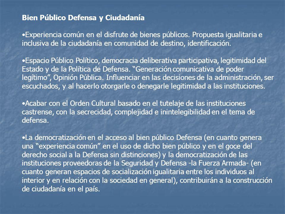 Bien Público Defensa y Ciudadanía Experiencia común en el disfrute de bienes públicos.