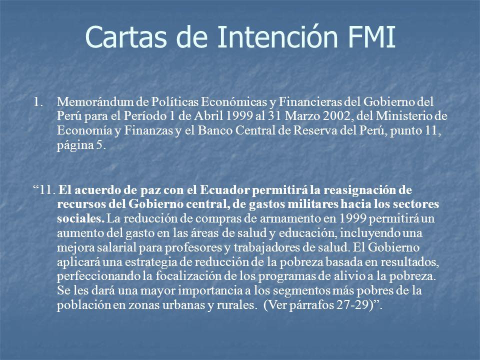 Cartas de Intención FMI 1.Memorándum de Políticas Económicas y Financieras del Gobierno del Perú para el Período 1 de Abril 1999 al 31 Marzo 2002, del Ministerio de Economía y Finanzas y el Banco Central de Reserva del Perú, punto 11, página 5.