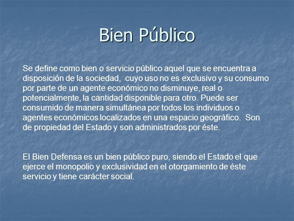 Bien Público Se define como bien o servicio público aquel que se encuentra a disposición de la sociedad, cuyo uso no es exclusivo y su consumo por parte de un agente económico no disminuye, real o potencialmente, la cantidad disponible para otro.