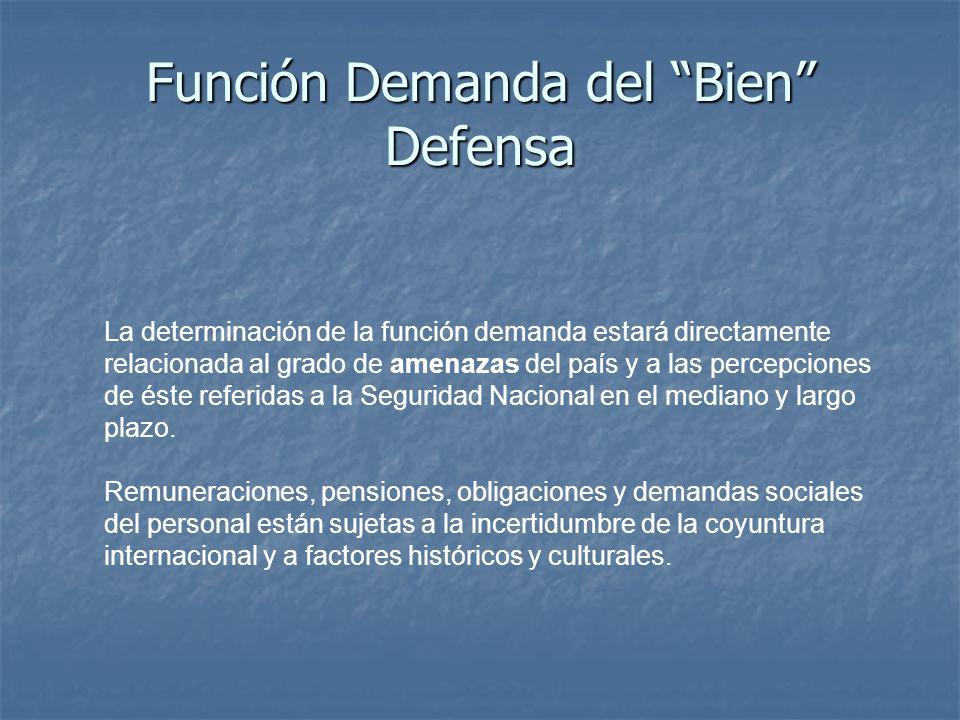 Función Demanda del Bien Defensa La determinación de la función demanda estará directamente relacionada al grado de amenazas del país y a las percepciones de éste referidas a la Seguridad Nacional en el mediano y largo plazo.