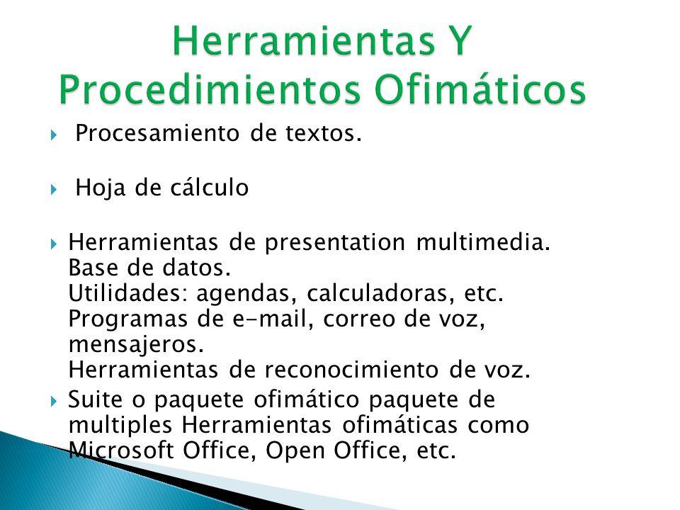  Se llama ofimática al equipamiento hardware y software usado para crear, coleccionar, almacenar, manipular y transmitir digitalmente la información necesaria en una oficina para realizar tareas y lograr objetivos básicos.