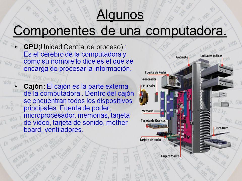 Algunos Componentes de una computadora Algunos Componentes de una computadora.