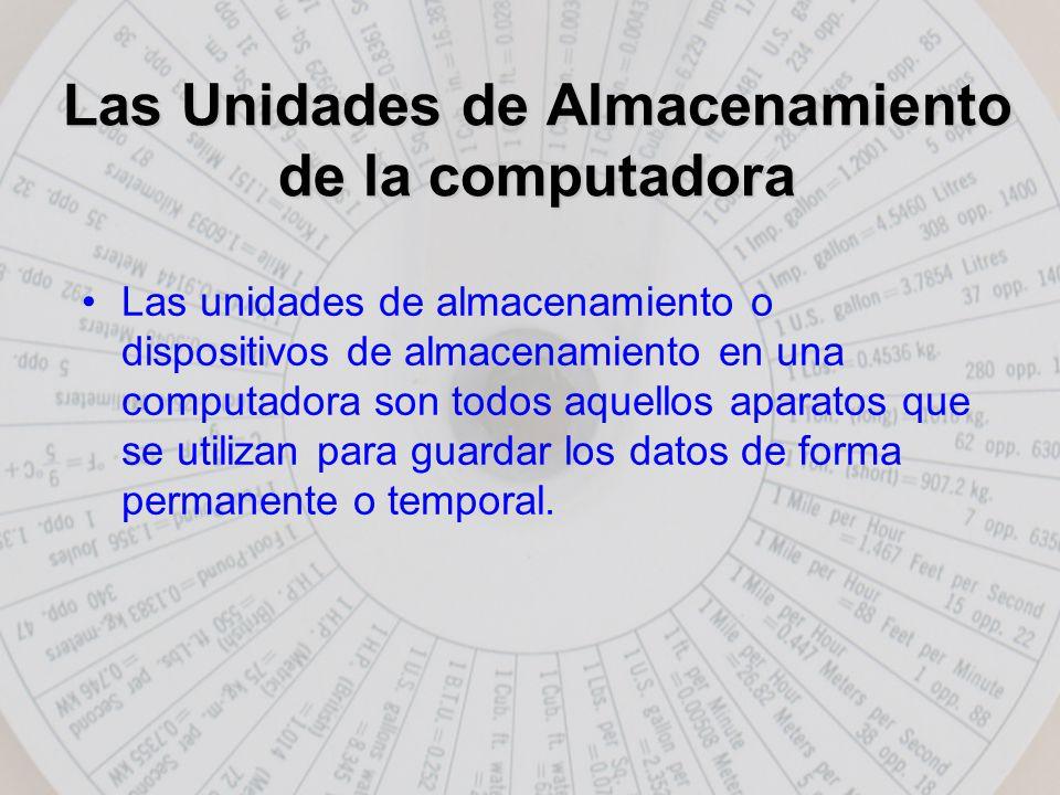 Las Unidades de Almacenamiento de la computadora Las unidades de almacenamiento o dispositivos de almacenamiento en una computadora son todos aquellos aparatos que se utilizan para guardar los datos de forma permanente o temporal.