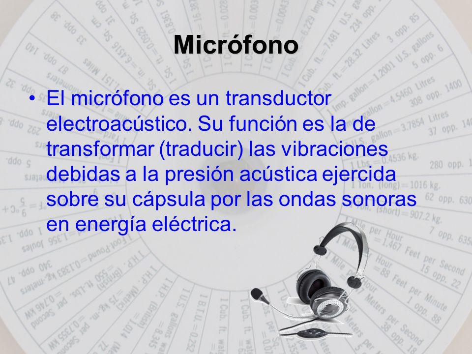 Micrófono micrófonoEl micrófono es un transductor electroacústico.