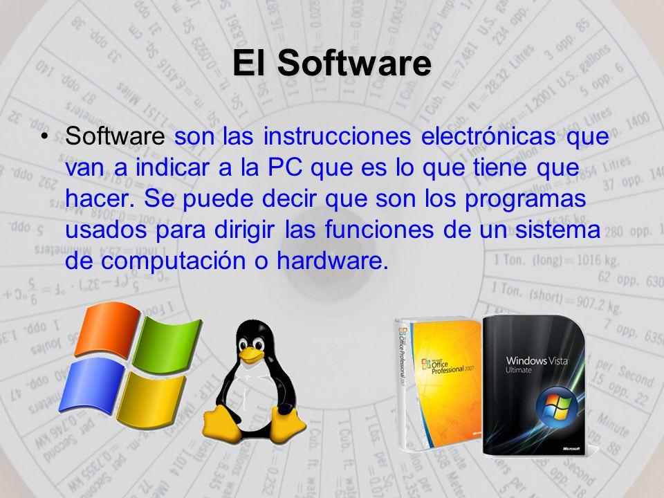 El Software Software son las instrucciones electrónicas que van a indicar a la PC que es lo que tiene que hacer.