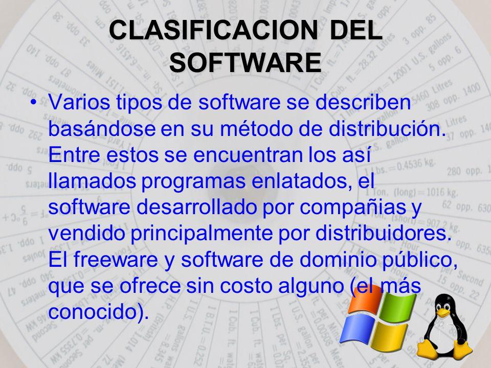 CLASIFICACION DEL SOFTWARE Varios tipos de software se describen basándose en su método de distribución.