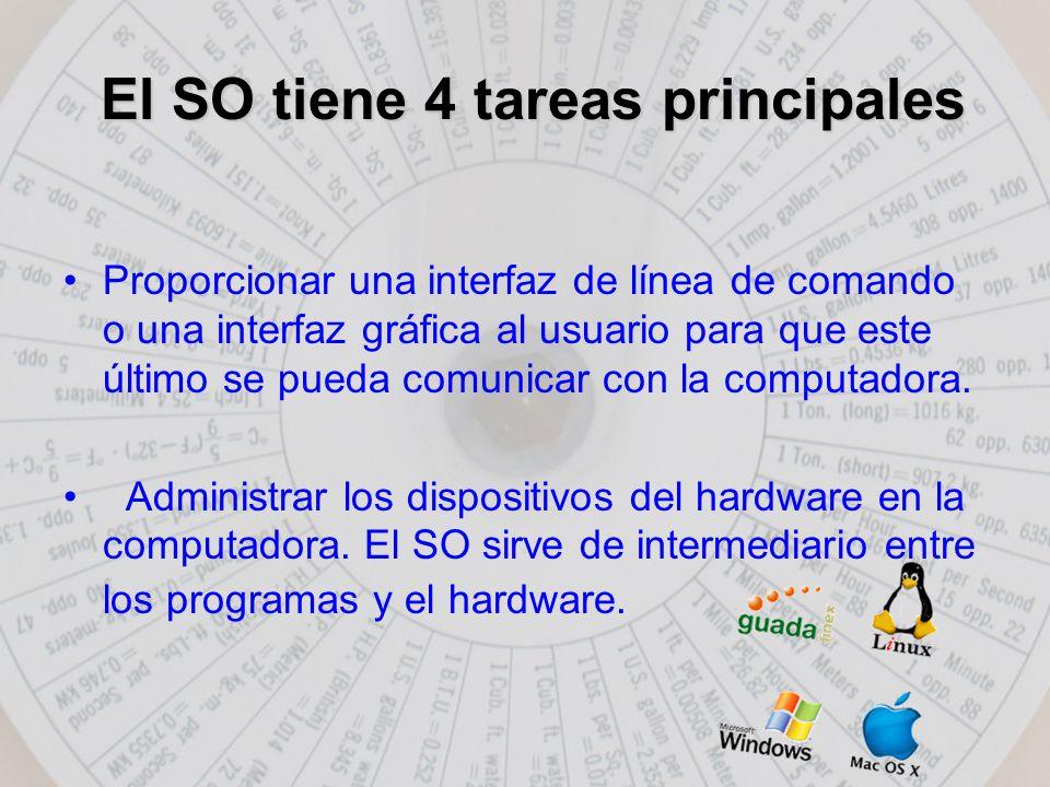 El SO tiene 4 tareas principales Proporcionar una interfaz de línea de comando o una interfaz gráfica al usuario para que este último se pueda comunicar con la computadora.