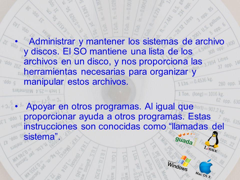 Administrar y mantener los sistemas de archivo y discos.