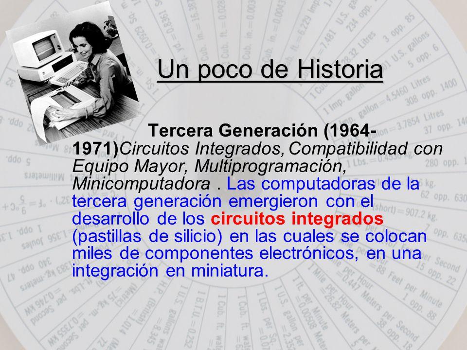 Tercera Generación (1964- 1971)Circuitos Integrados,Compatibilidad con Equipo Mayor, Multiprogramación, Minicomputadora.