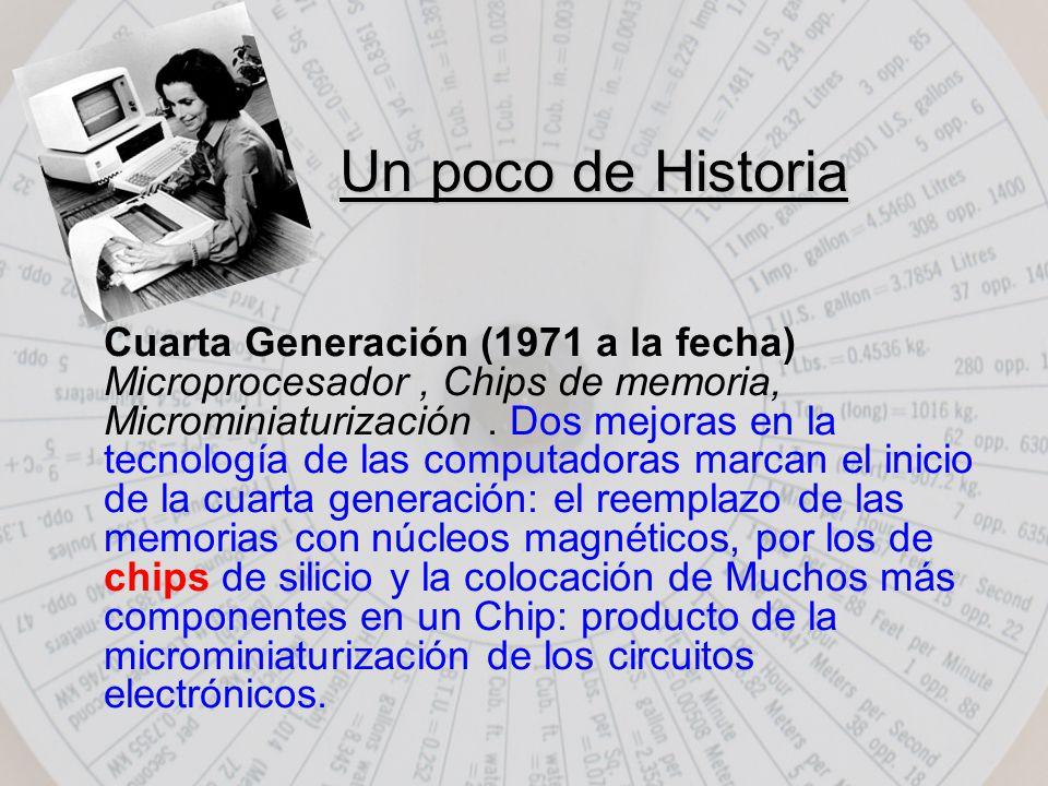 Cuarta Generación (1971 a la fecha) Microprocesador, Chips de memoria, Microminiaturización.