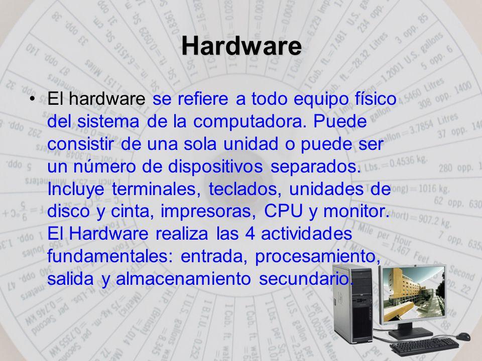 Hardware El hardware se refiere a todo equipo físico del sistema de la computadora.