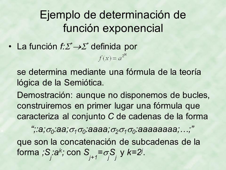 Ejemplo de determinación de función exponencial La función f:  *  * definida por se determina mediante una fórmula de la teoría lógica de la Semiótica.