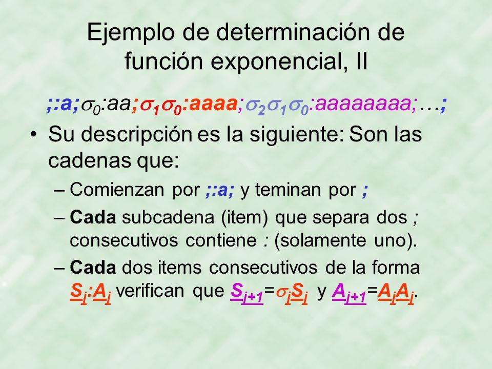 Ejemplo de determinación de función exponencial, II ;:a;  0 :aa;  1  0 :aaaa;  2  1  0 :aaaaaaaa;…; Su descripción es la siguiente: Son las cadenas que: –Comienzan por ;:a; y teminan por ; –Cada subcadena (item) que separa dos ; consecutivos contiene : (solamente uno).