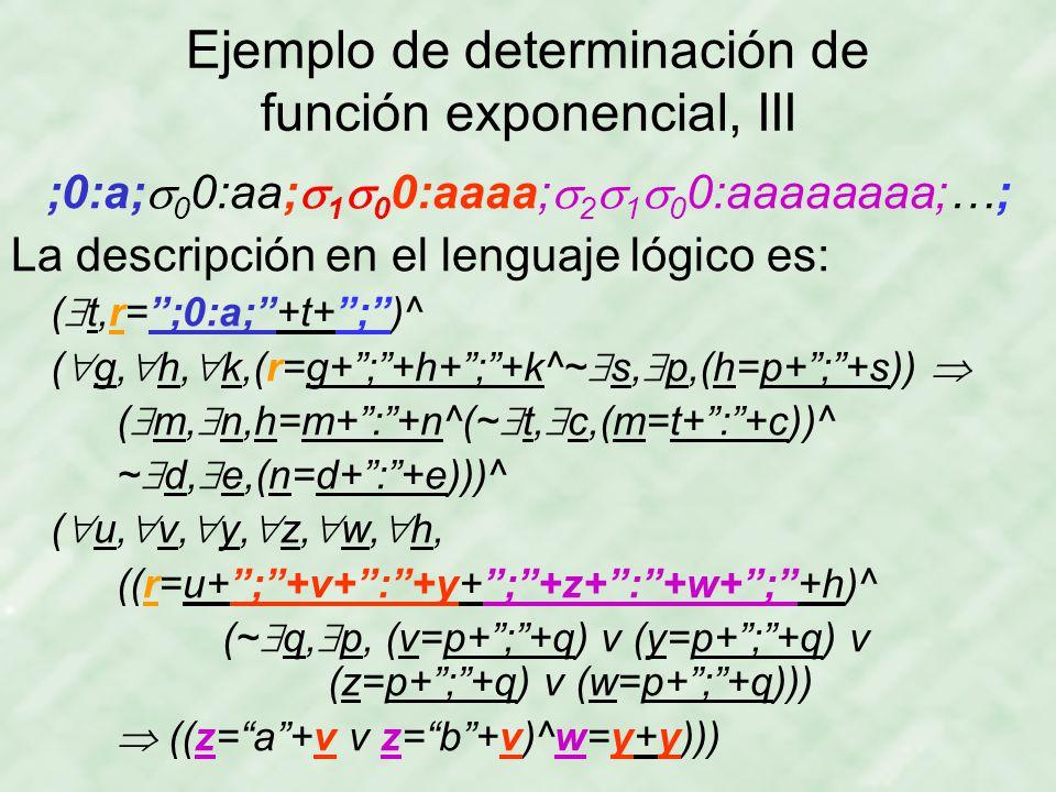 Ejemplo de determinación de función exponencial, III ;0:a;  0 0:aa;  1  0 0:aaaa;  2  1  0 0:aaaaaaaa;…; La descripción en el lenguaje lógico es: (  t,r= ;0:a; +t+ ; )^ (  g,  h,  k,(r=g+ ; +h+ ; +k^~  s,  p,(h=p+ ; +s))  (  m,  n,h=m+ : +n^(~  t,  c,(m=t+ : +c))^ ~  d,  e,(n=d+ : +e)))^ (  u,  v,  y,  z,  w,  h, ((r=u+ ; +v+ : +y+ ; +z+ : +w+ ; +h)^ (~  q,  p, (v=p+ ; +q) v (y=p+ ; +q) v (z=p+ ; +q) v (w=p+ ; +q)))  ((z= a +v v z= b +v)^w=y+y)))