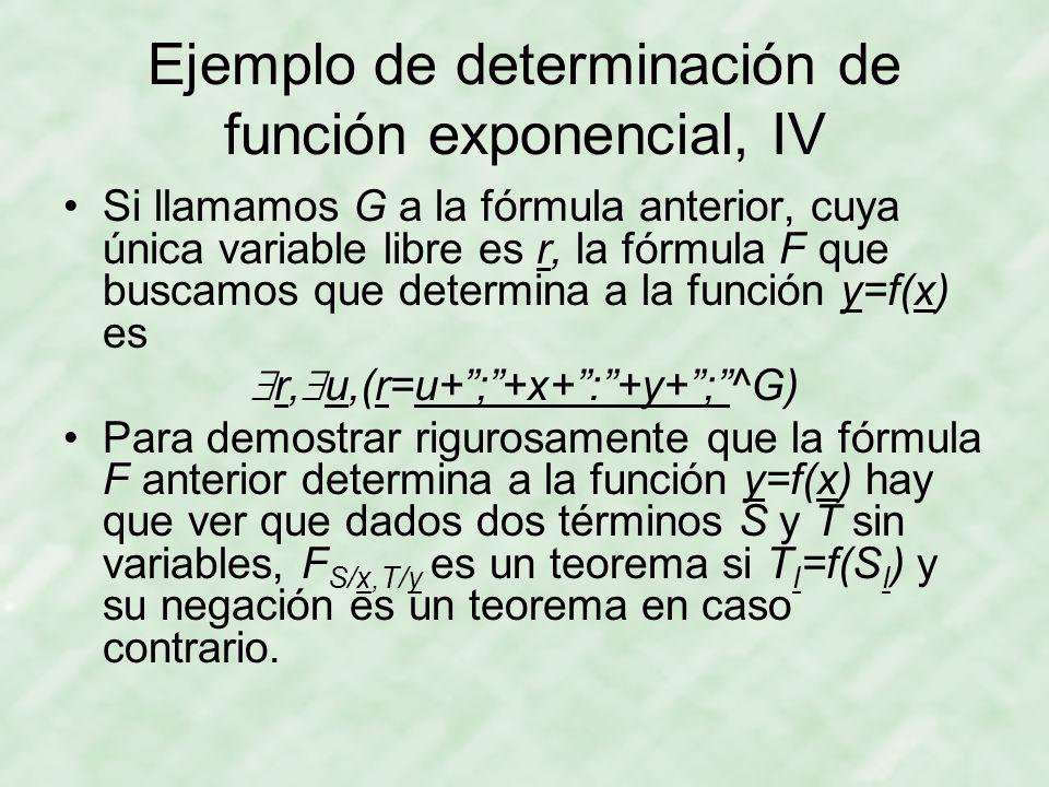 Ejemplo de determinación de función exponencial, IV Si llamamos G a la fórmula anterior, cuya única variable libre es r, la fórmula F que buscamos que determina a la función y=f(x) es  r,  u,(r=u+ ; +x+ : +y+ ; ^G) Para demostrar rigurosamente que la fórmula F anterior determina a la función y=f(x) hay que ver que dados dos términos S y T sin variables, F S/x,T/y es un teorema si T I =f(S I ) y su negación es un teorema en caso contrario.