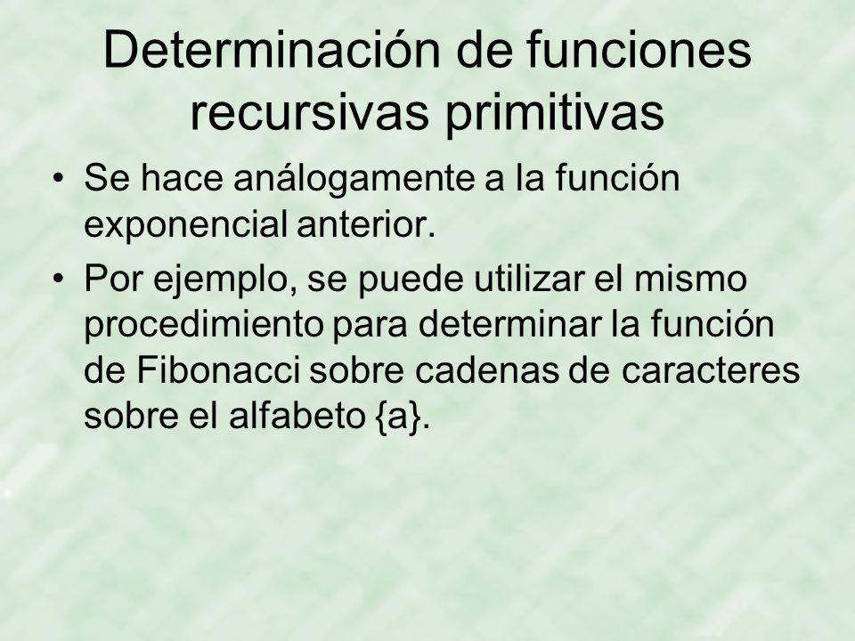 Determinación de funciones recursivas primitivas Se hace análogamente a la función exponencial anterior.