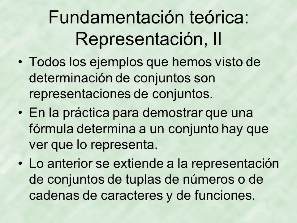 Fundamentación teórica: Representación, II Todos los ejemplos que hemos visto de determinación de conjuntos son representaciones de conjuntos.