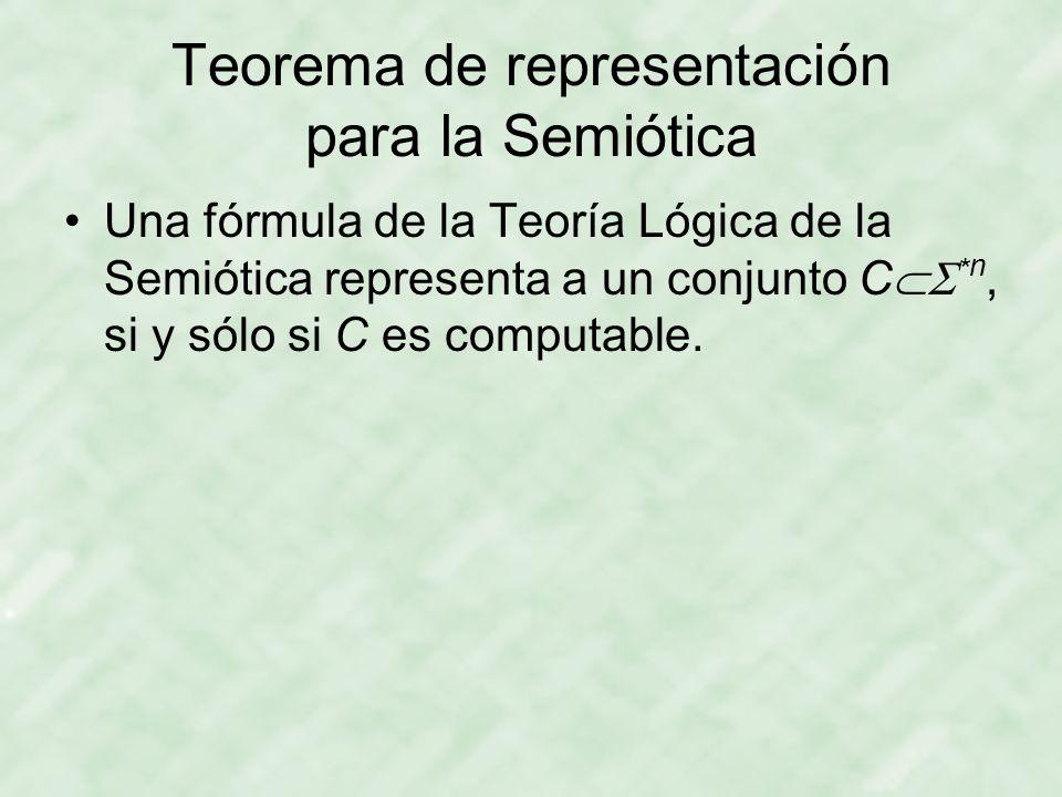 Teorema de representación para la Semiótica Una fórmula de la Teoría Lógica de la Semiótica representa a un conjunto C  * n, si y sólo si C es computable.