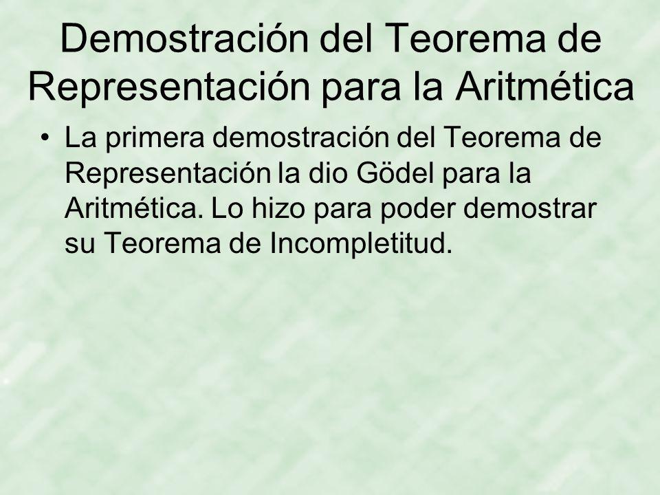 Demostración del Teorema de Representación para la Aritmética La primera demostración del Teorema de Representación la dio Gödel para la Aritmética.