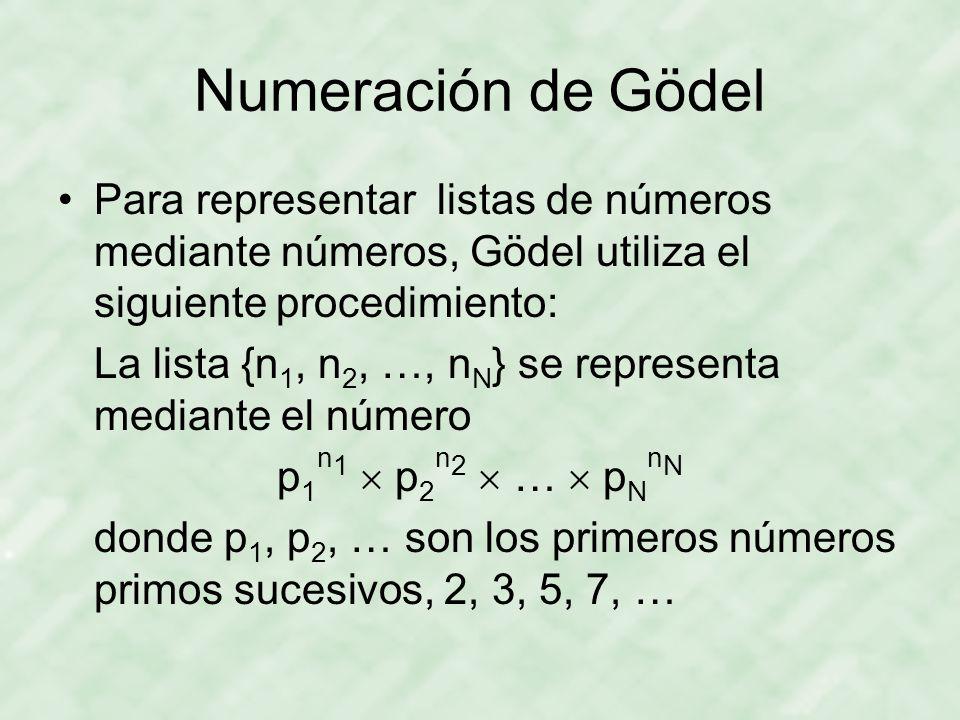 Numeración de Gödel Para representar listas de números mediante números, Gödel utiliza el siguiente procedimiento: La lista {n 1, n 2, …, n N } se representa mediante el número p 1 n 1  p 2 n 2  …  p N n N donde p 1, p 2, … son los primeros números primos sucesivos, 2, 3, 5, 7, …