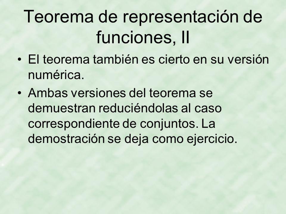 Teorema de representación de funciones, II El teorema también es cierto en su versión numérica.