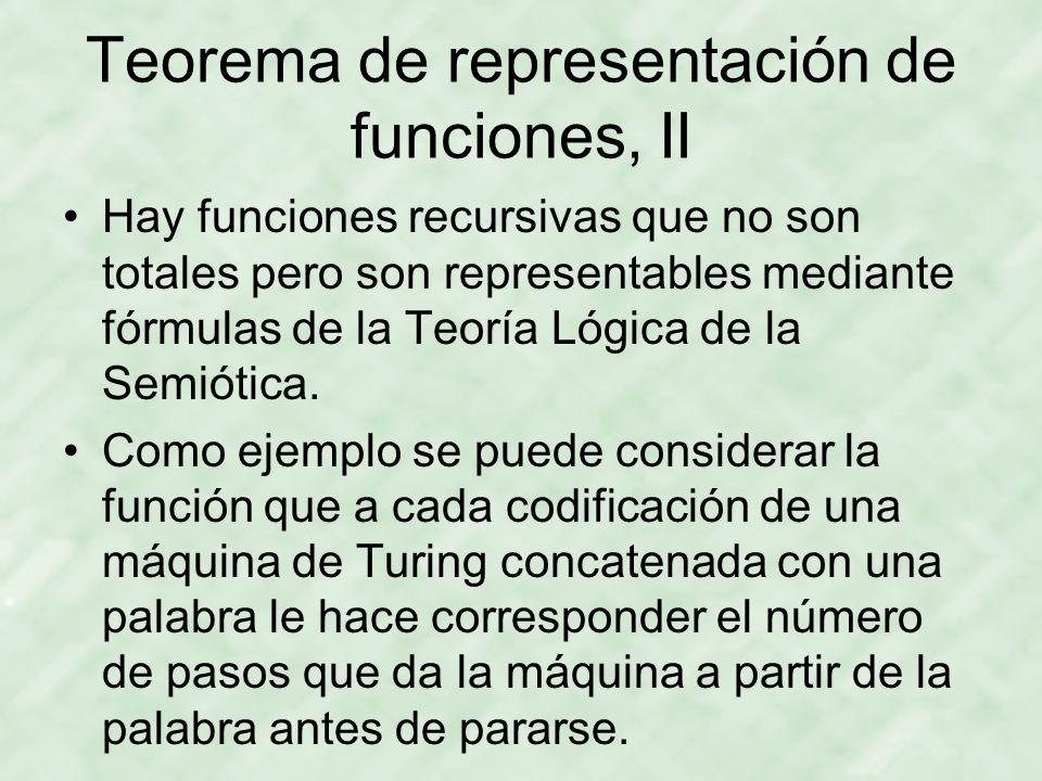 Teorema de representación de funciones, II Hay funciones recursivas que no son totales pero son representables mediante fórmulas de la Teoría Lógica de la Semiótica.