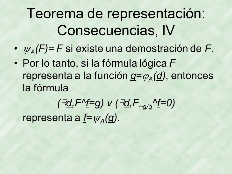 Teorema de representación: Consecuencias, IV  A (F)= F si existe una demostración de F.
