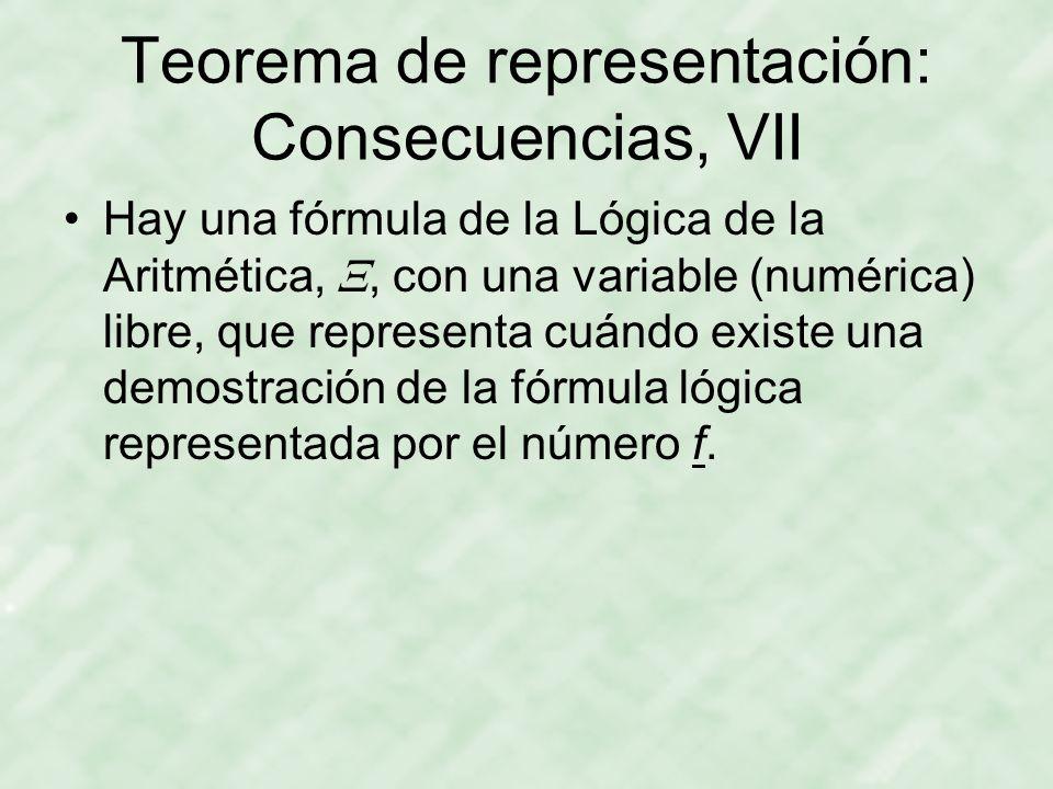 Teorema de representación: Consecuencias, VII Hay una fórmula de la Lógica de la Aritmética, , con una variable (numérica) libre, que representa cuándo existe una demostración de la fórmula lógica representada por el número f.