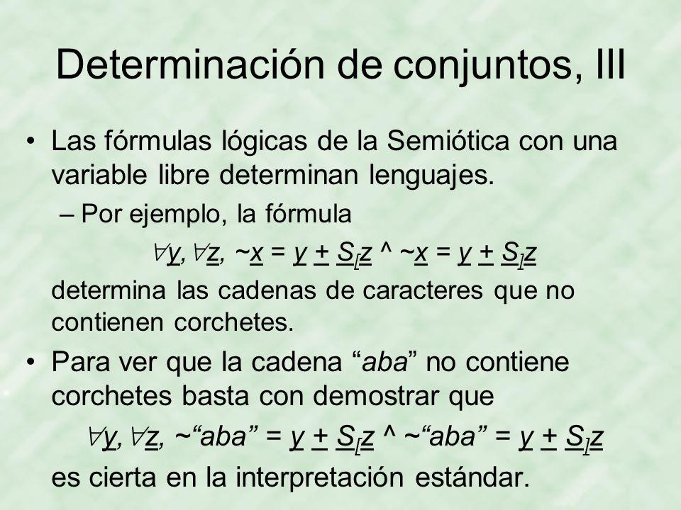 Determinación de conjuntos, III Las fórmulas lógicas de la Semiótica con una variable libre determinan lenguajes.