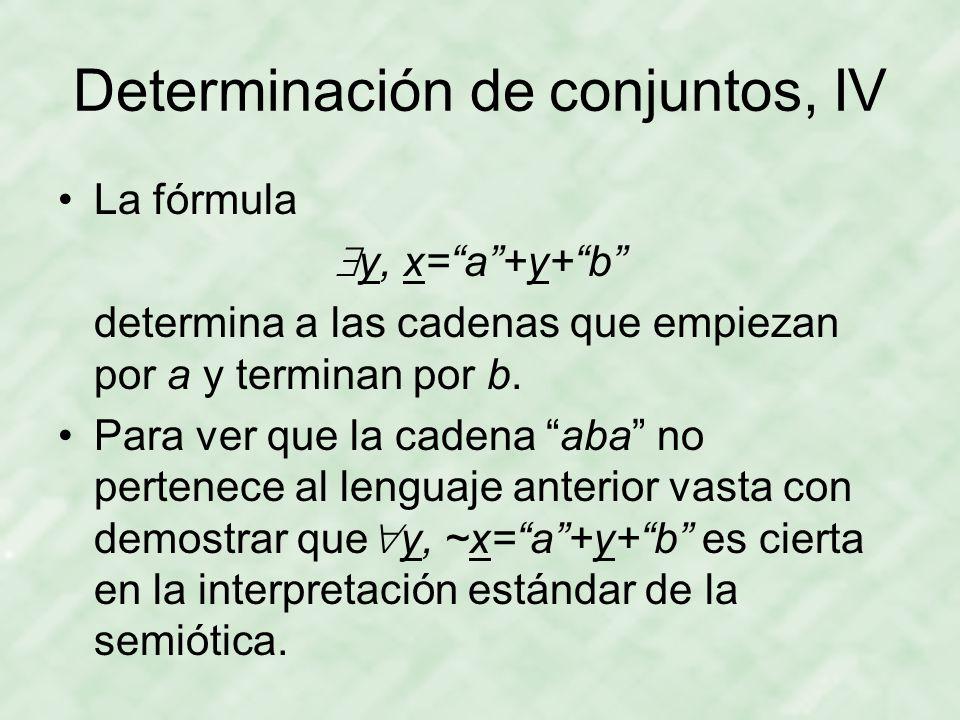 Determinación de conjuntos, IV La fórmula  y, x= a +y+ b determina a las cadenas que empiezan por a y terminan por b.