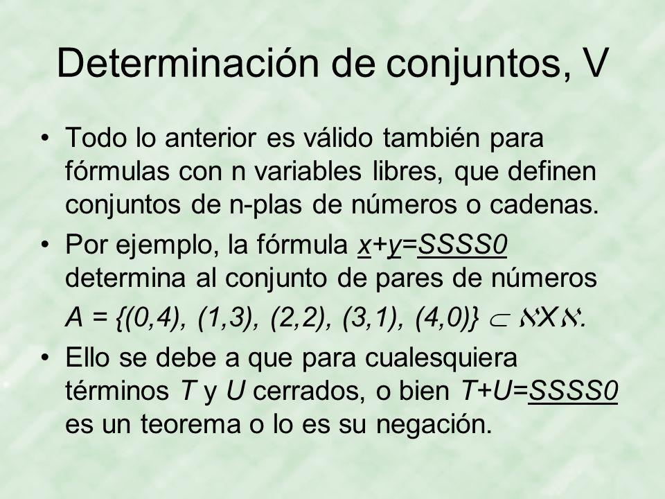 Determinación de conjuntos, V Todo lo anterior es válido también para fórmulas con n variables libres, que definen conjuntos de n-plas de números o cadenas.