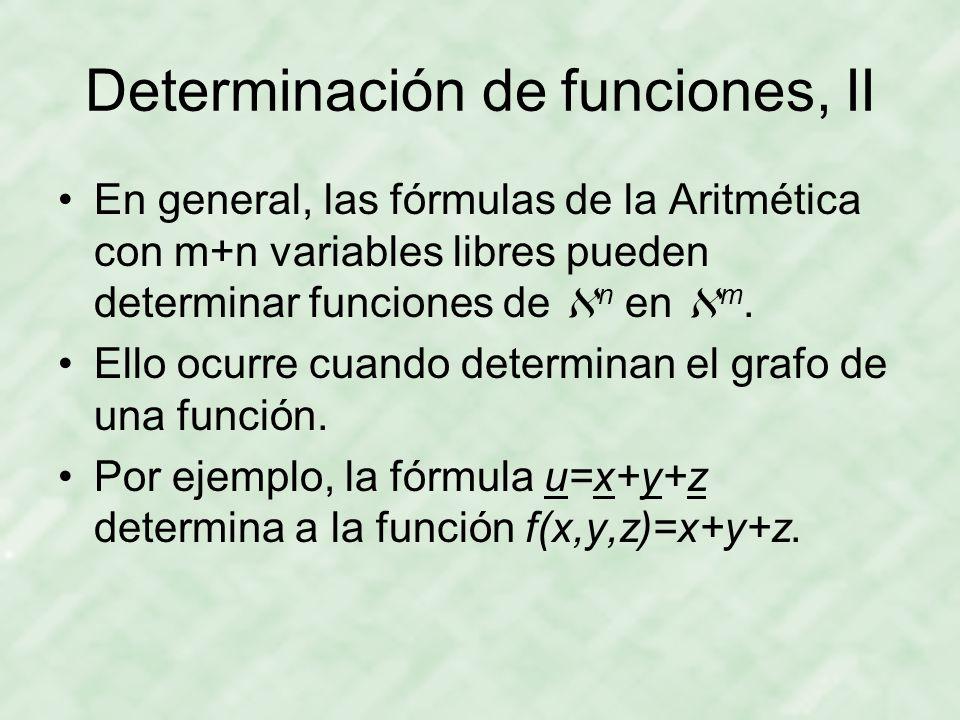 Determinación de funciones, II En general, las fórmulas de la Aritmética con m+n variables libres pueden determinar funciones de  n en  m.