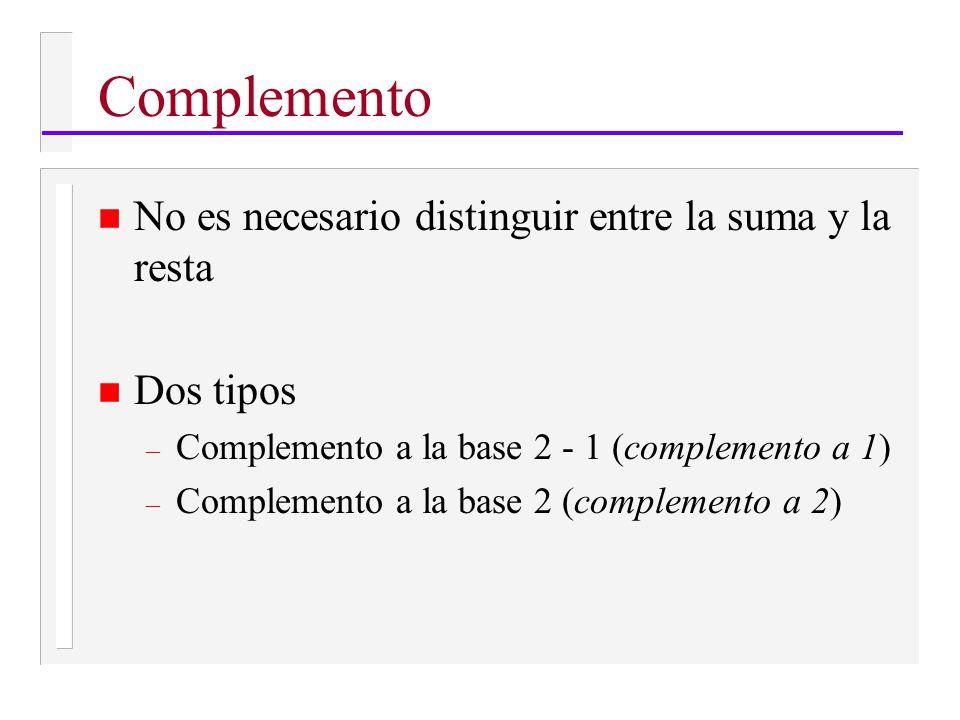 Complemento n No es necesario distinguir entre la suma y la resta n Dos tipos – Complemento a la base 2 - 1 (complemento a 1) – Complemento a la base 2 (complemento a 2)
